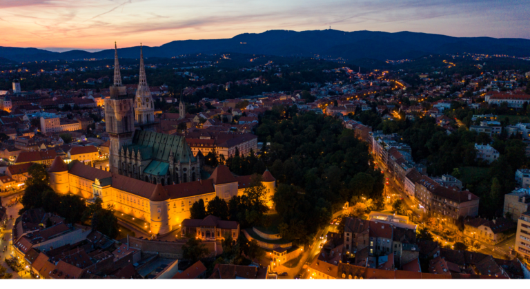 Zagreb cathedral in the evening